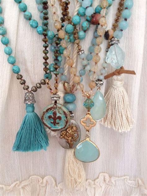 Gelang Fashion Gemstone Bohemian bohemian glam blues earth tone mixed gemstone boho tassel layering necklace by