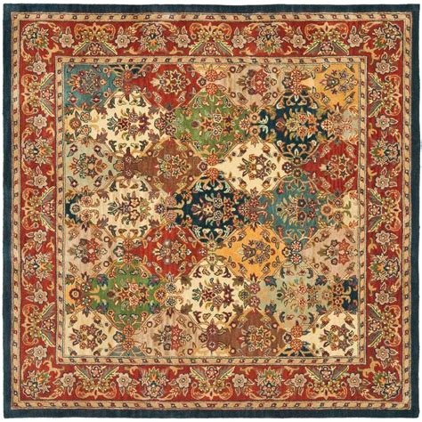 square area rugs 10 x 10 safavieh heritage multi burgundy 10 ft x 10 ft square area rug hg911a 10sq the home depot