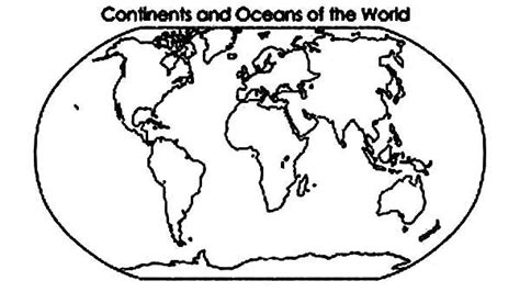 coloring page of world oceans continent and oceans of the world in world map coloring