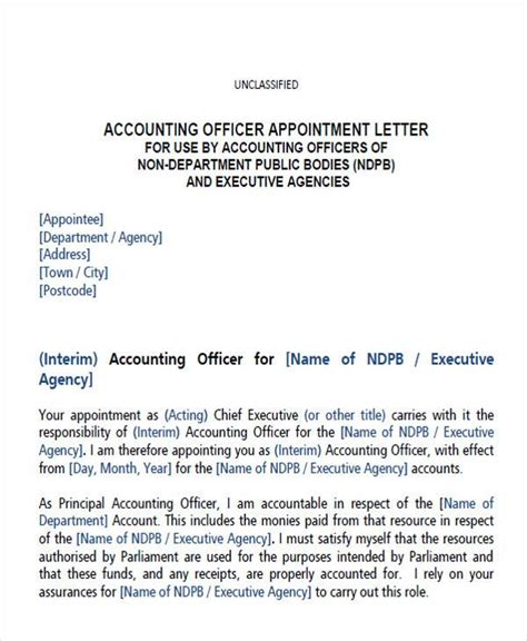 appointment letter format for accountant in pdf appointment letter format