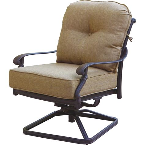 Swivel Rocking Patio Chair Patio Furniture Cast Aluminum Seating Rocker Set Swivel Club Chair 3pc Santa