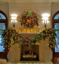 garlands with lights for fireplace decor mantle garland traditional