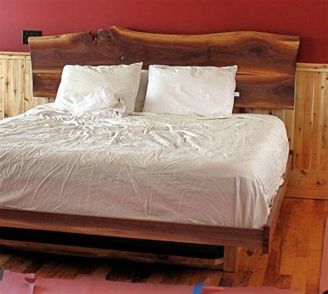 Barnboard Headboard by Platform Bed With A Walnut Slab Headboard Home