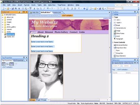 Creating Websites Using Templates In Microsoft 174 Expression 174 Web Dotnetcurry Microsoft Expression Templates Free