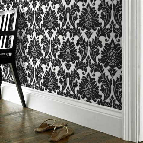 Superfresco Wallpaper Black And White | graham brown superfresco easy majestic damask black