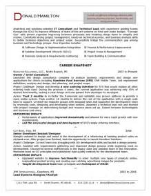 Resume Exles It by It Consultant Resume Sle