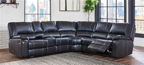 Leather Motion Sectional Sofa U8135 Motion Sectional Sofa In Black Bycast Leather By Global