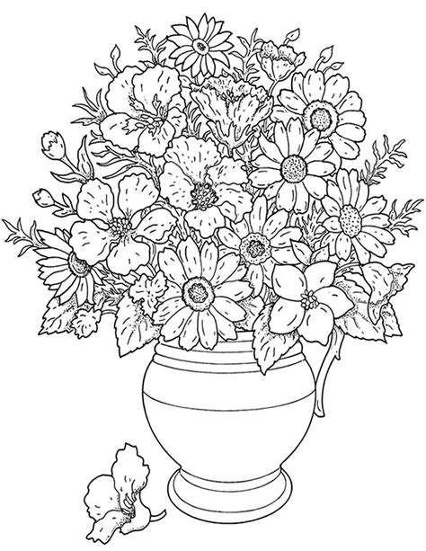 coloring pages of flowers in a pot flowers in a pot coloring page for free printable