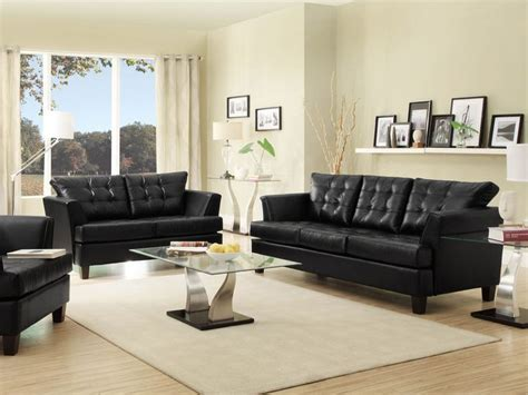 Decorating Around A Black Leather by Iris Modern Black Faux Leather Sofa Loveseat Set