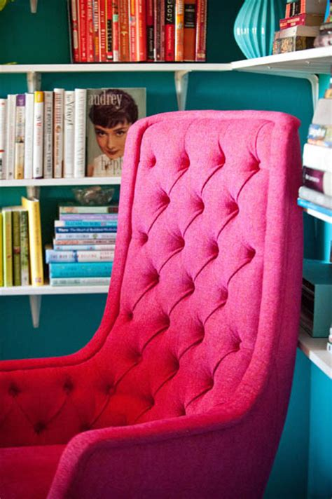 pink tufted desk chair office austin interior design by room fu knockout interiors