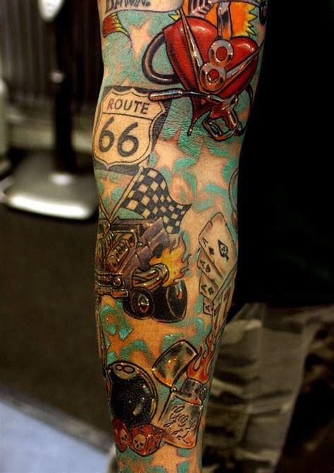 tattoo sleeve love amazing color love las vegas themed tats left arm