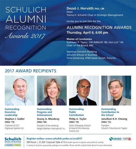 Schulich Mba Tuition Fees by Alumni Recognition Awards 2017 Schulich School Of Business
