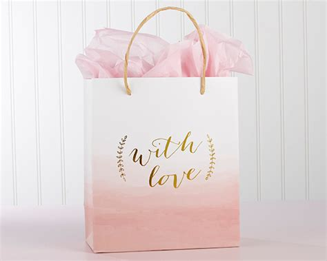 pink bridal shower gift bags with pink watercolor wedding welcome gift bags