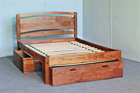 Wooden Bed Frame With Storage Solid Wood Platform Bed Frame Design Selections Homesfeed