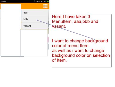 android how to change the background color around a how to change background color of menuitem in android