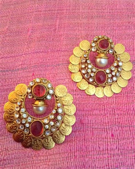 buy crystal jewelry sets onlinelaxmi coin setsearrings buy goddess lakshmi coin ginni south indian ethnic polki