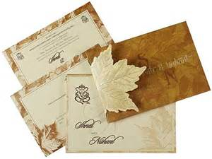indian wedding card in fawn with leaf design wedding invitations wedding cards