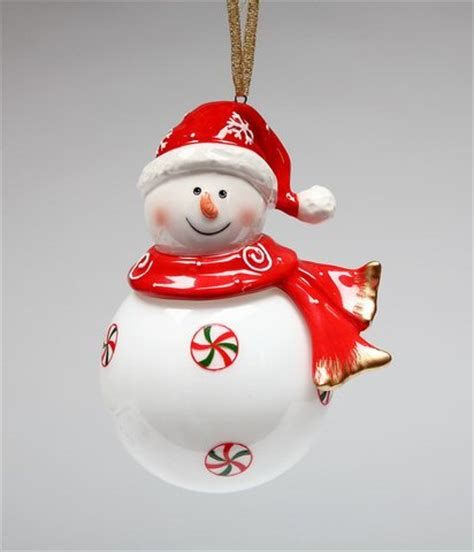 snowman wearing a santa hat christmas tree ornaments set