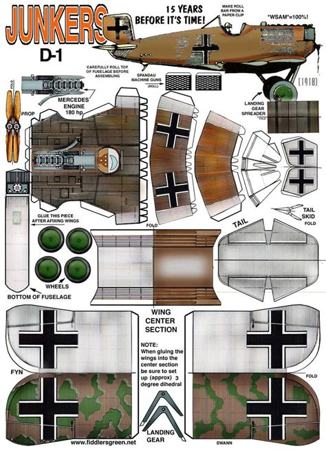paper craft models junkers d 1 http www fiddlersgreen net