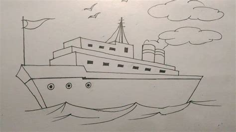 how to draw a cargo boat how to draw a ship step by step tutorial for kids youtube