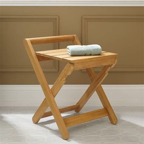 folding teak bench dhara teak folding shower stool bathroom