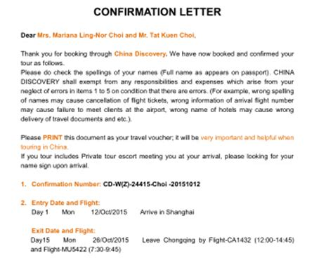 Confirmation Credit Letter What To Pack Things To Bring Before Visit China