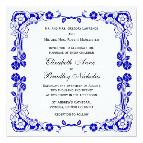 Wedding Border Design Royal Blue by Floral Border Royal Blue 5 25 Quot Wedding Invitation