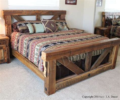 How To Make Wood Bed Frame Best 25 Wooden Beds Ideas On Rustic Wood Headboard Headboard Lights And Rustic