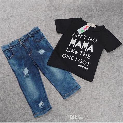 Set Denim Kid 2017 summer boys denim sets clothes for toddler baby