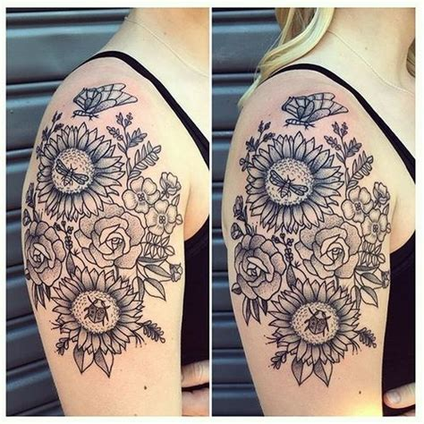 sunflower and rose tattoo 90 black and white sunflowers design ideas