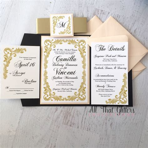 Wedding Invitations Black by Camilla Vintage Wedding Invitation Suite All That
