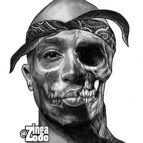 tupac half dead tattoo drawing sketch pinterest
