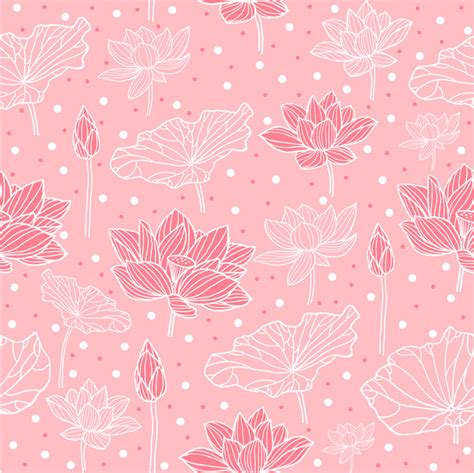 Free Lotus Background Pattern | pink background design with lotus flowers free vector in