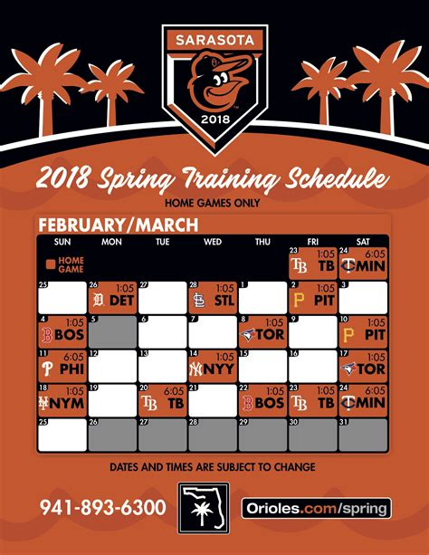 printable orioles schedule orioles announce home spring training schedule masn news