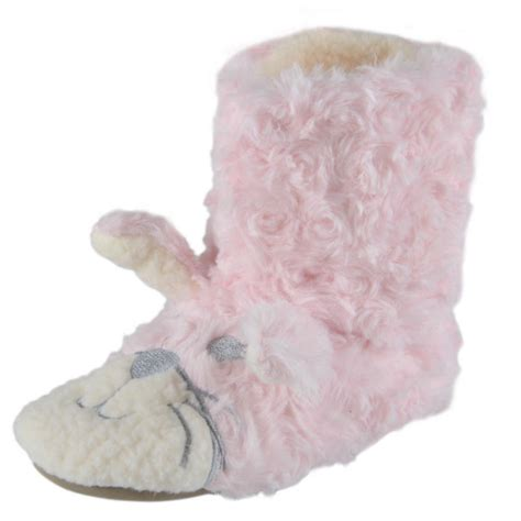 bunny rabbit slippers plush bunny rabbit fluffy bootie slipper with ears new