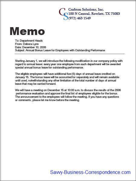 Business Letter And Memo Writing announcement memo about introducing company policy changes