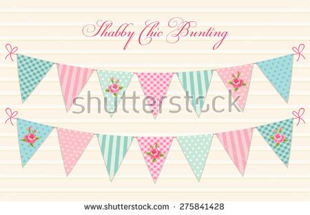 vintage shabby chic textile bunting stock vector 275841425