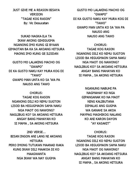 bisaya version lyrics just give me a reason bisaya version lyrics