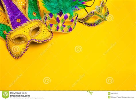 mardi gras powerpoint template mardi gras mask on yellow background stock photo image