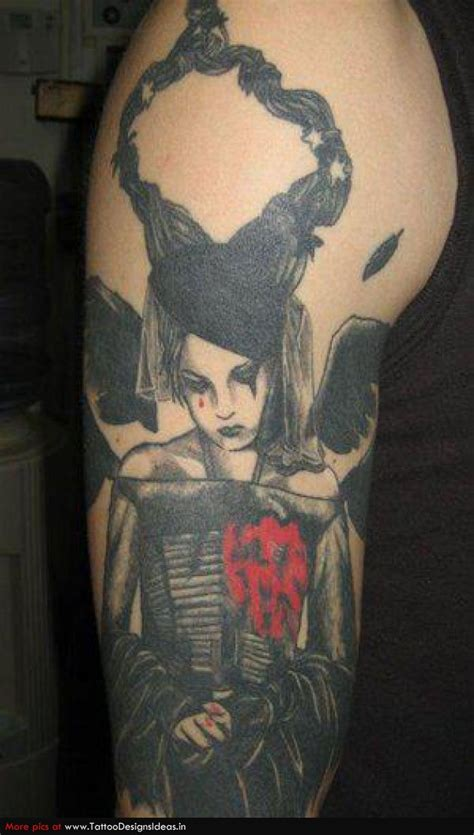 tattoo angel gothic black ink gothic angel tattoo on right sleeve
