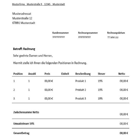 Rechnungskorrektur Umsatzsteuer Muster rechnung f 252 r freiberufler vorlage muster