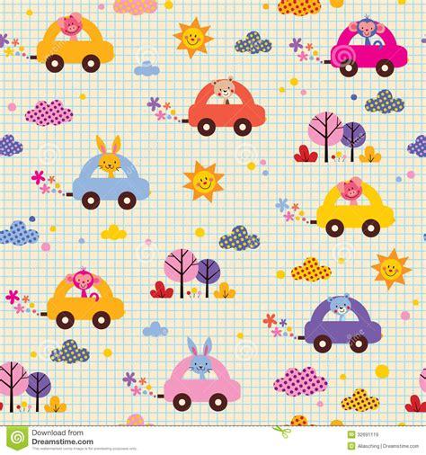 cute kid pattern cute animals driving cars note book paper kids pattern