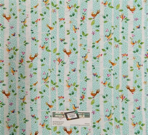 patchwork quilting fabric trees birds blue material