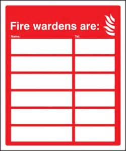 Floor Warden by Fire Wardens Are Name Tel Number Sign Rigid Plastic