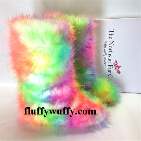 Rainbow ? TieDye  Fluffy Wuffy Boots   Northstar Fur Company