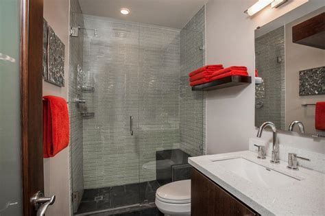 gray and red bathroom photos hgtv