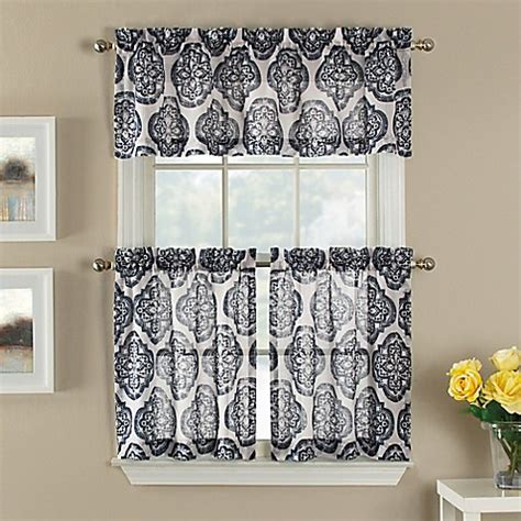 Sheer Tier Curtains Castil Semi Sheer Window Curtain Tier Pairs In White Navy Medallion Pattern Bed Bath Beyond