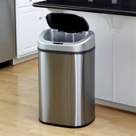 kitchen trash cans nine dzt 80 4 touchless stainless steel 21 1 gallon