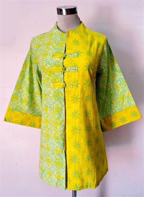 Salsabila Blouse Katun Mix Katun Songket blouse flora mix kuning baju kerja batik