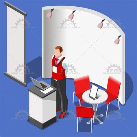 booth design illustrator 3d exhibition booth stand people isometric vector